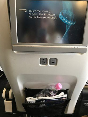 back of the seat with screen and usb ports british airways world traveller plus
