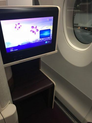 tv screen on thai airways business class