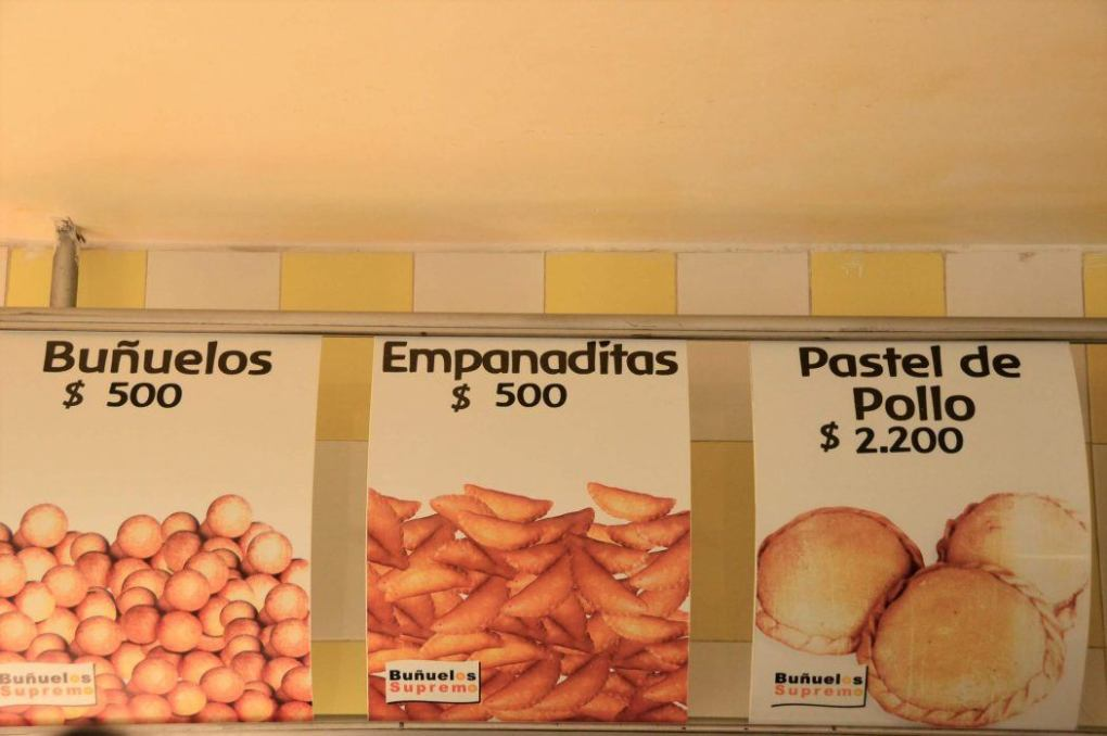 signs for bunuelos and other snacks