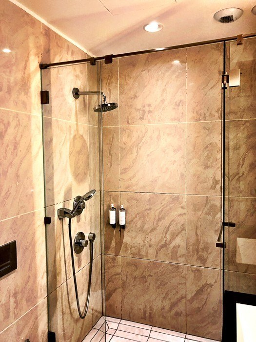 shower at air france business class lounge at charles de gaulle airport