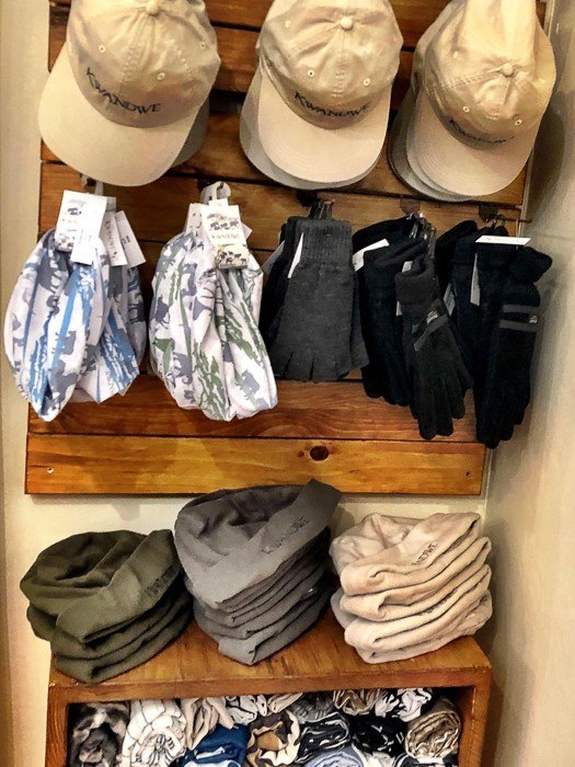 caps and hats merchandised in the shop at kwandwe