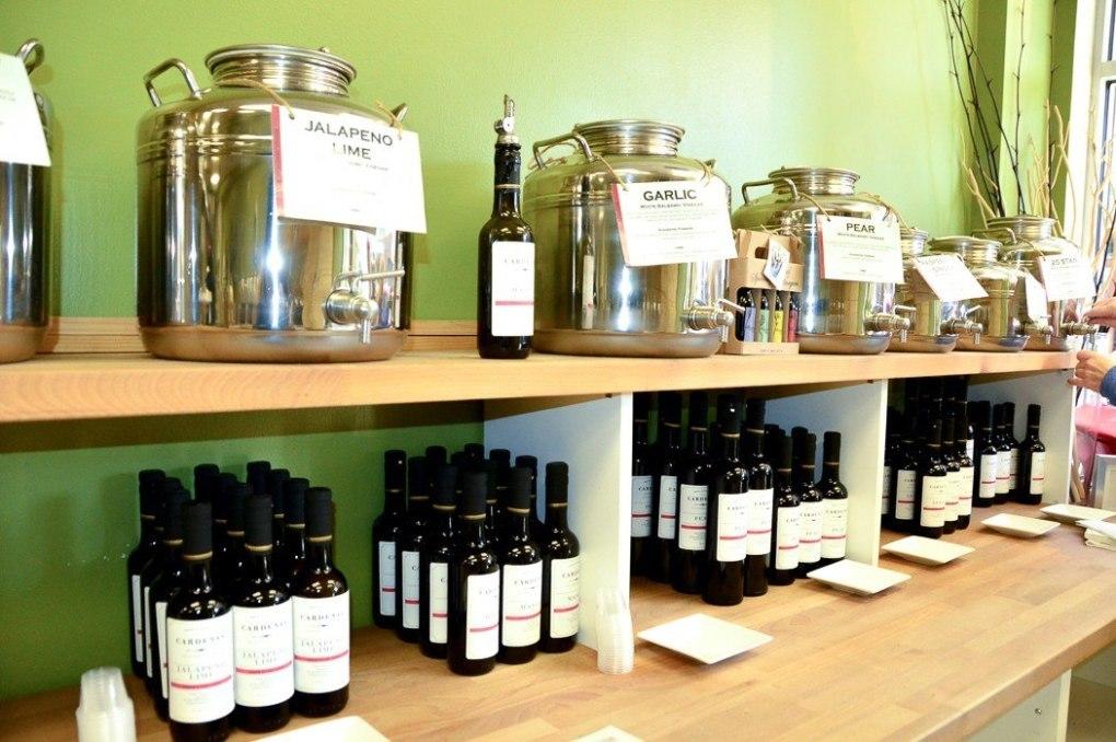 bottles of vinegars and oils on display in philadelphia