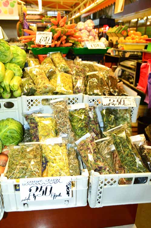 Herbs for tea and medicine at Riga Central Market