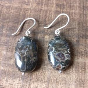 silver 925 earrings leopard skin jasper