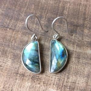 silver 925 earrings labradorite moon