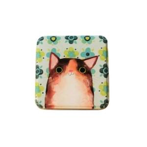 Planet Cat kleine vierkante blikken doos groen