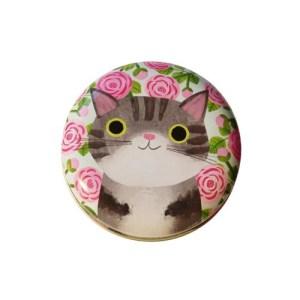 Planet Cat kleine ronde blikken doos grijs