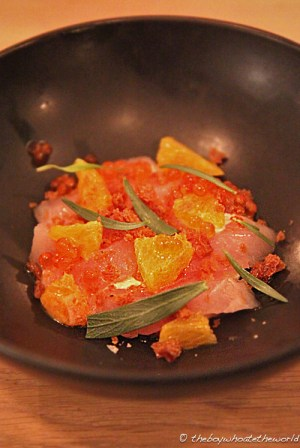 Red Mullet, Orange, Fish roe & Creme Fraiche