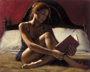 woman reading by fabian perez