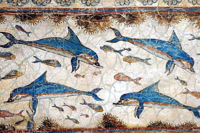 Painting of dolphins from the Bronze Age in Crete.  Photo Credit: H-stt via Wikipedia