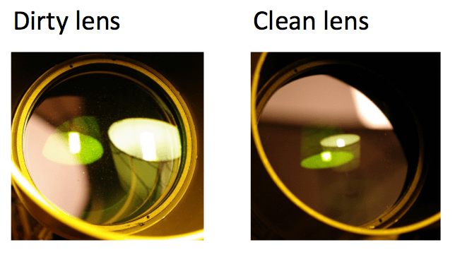 This is the objective lens from my telescope before and after cleaning. Although small specs of dust do not seriously affect the overall quality of the image, they can contribute to uneven brightness in the image.