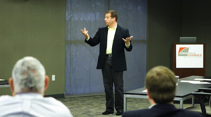 Geoff Wasserman moderating the panel