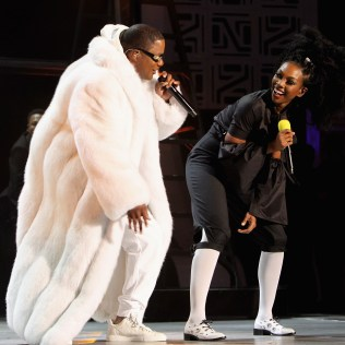 LAS VEGAS, NV - NOVEMBER 06: Recording artists Ma$e (L) and Brandy perform onstage during the 2016 Soul Train Music Awards at the Orleans Arena on November 6, 2016 in Las Vegas, Nevada. (Photo by Leon Bennett/BET/Getty Images for BET)
