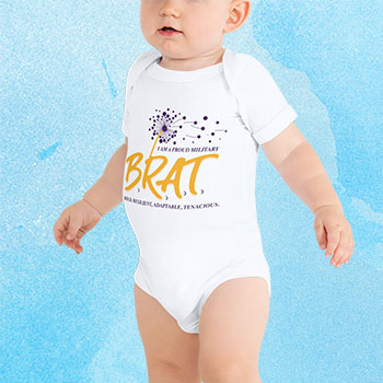 Adorable baby in a onesie with BRAT logo