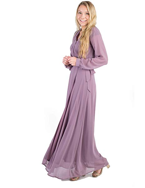 bcbc271983bfe Called To Surf A Nursing Friendly Bridesmaid Wrap Maxi Dress with Flutter  with Long Sleeves, and a Tie Belt. Mauve