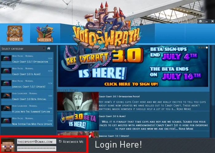 where to login to the voids wrath launcher in order to play crazy craft 3.0 - how to download & install Crazy Craft 3.0