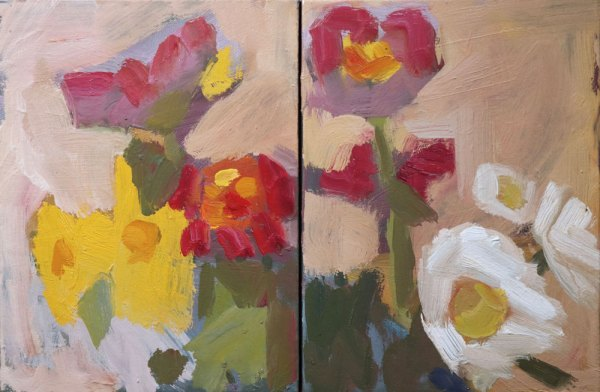 Abstract oil painting of warm coloured flowers against a blush pink background.