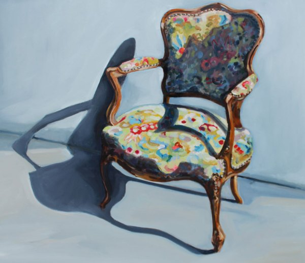 Oil painting depicting an old fashioned chair with coloured abstract upholstery against a pale blue backdrop.