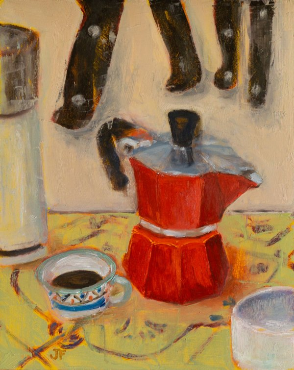 Oil painting of a red percolator and a patterned blue and white cup with knives in the background.