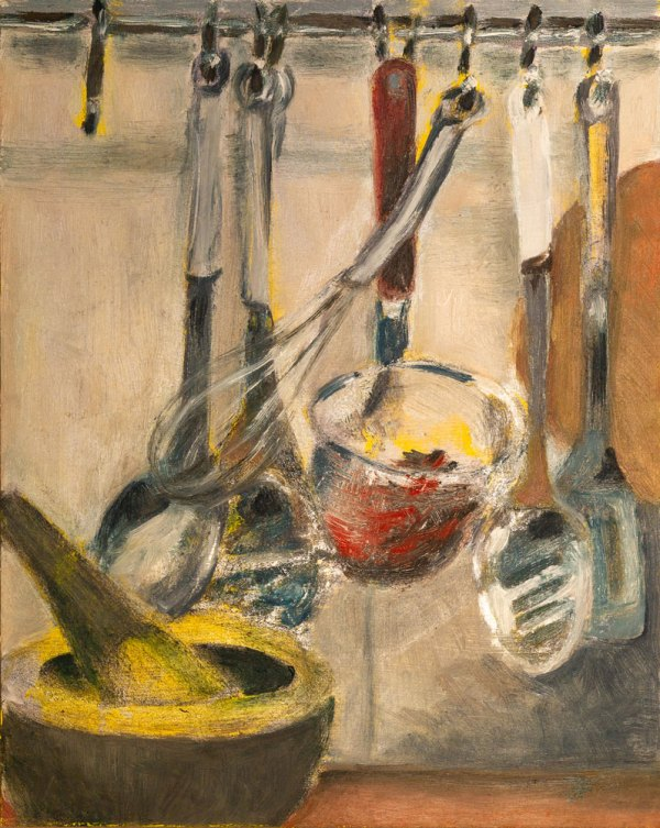 Oil painting depicting kitchen utensils featuring a whisk hanging diagonally and a mortar and pestle in the foreground.
