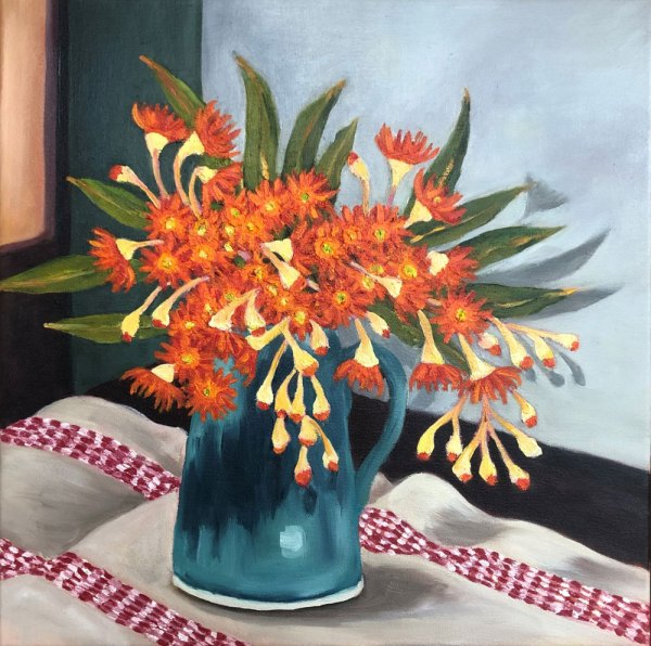 An oil painting depicting a blue vase holding a vibrant orange flowering gum, sitting on an off-white and red tablecloth.