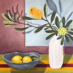 An oil painting of a tall white vase holding two yellow banksia flowers next to a shallow grey bowl containing two yellow lemons, both sitting on top of a striped tablecloth.