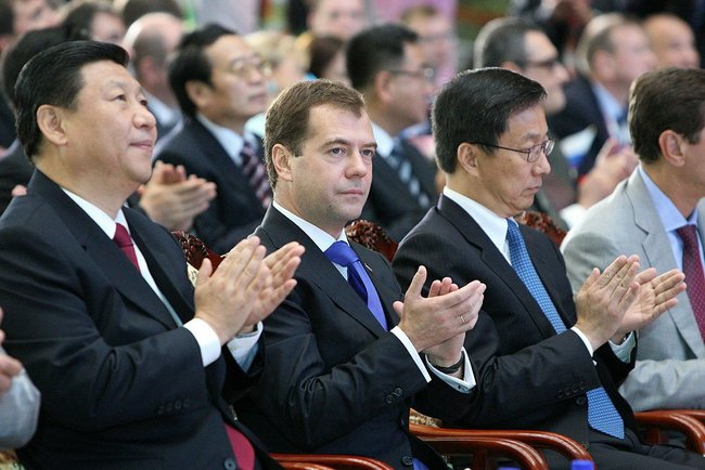 File photo of Chinese President Xi Jinping (left) with Russian Prime Minister Dmitry Medvedev [PPIO]