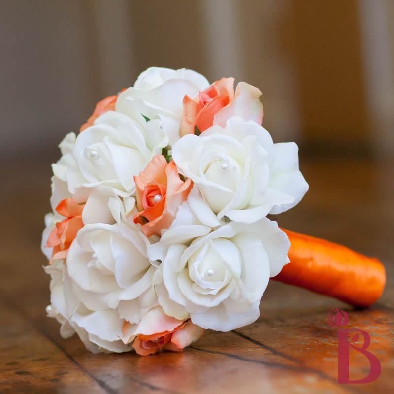 Orange and white wedding bouquets deweddingjpg bridal bouquet orange and white real touch wedding mightylinksfo