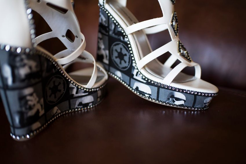 """dc53889998dbe5 Like these wedges that the bride herself """"Star Wars-ified by taking a piece  of fabric and modify the wedge and adding some rhinestones."""