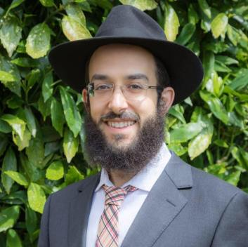Rabbi Mendy Singer stands, smiling, in a grey suit, pink striped tie, and black hat, in front of a green bush.