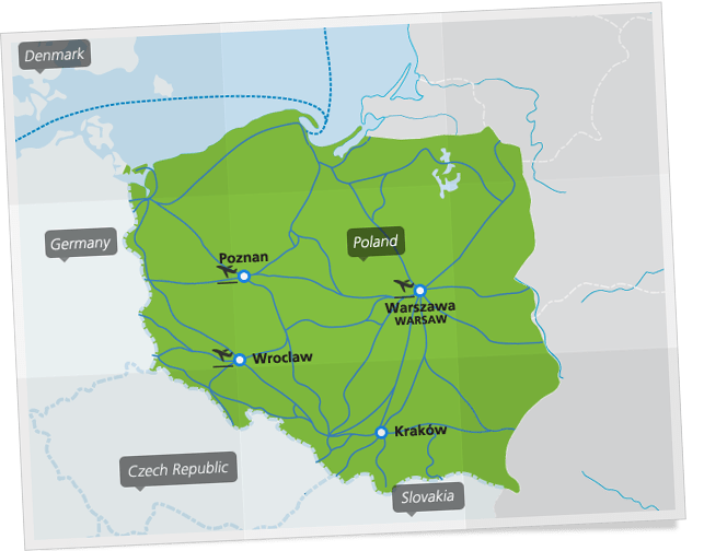 Map of main train connections in Poland. ©Eurail.com