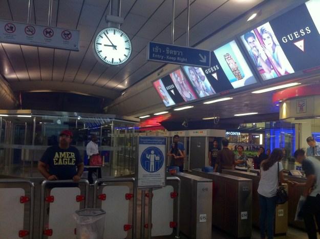 Using the Bangkok Sky Train.