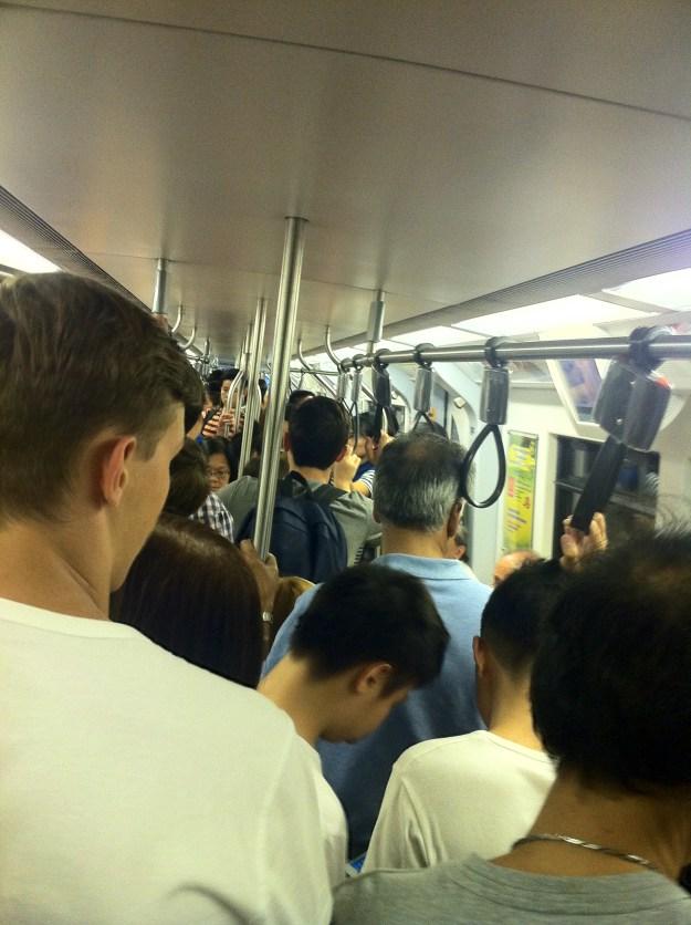 Inside the Bangkok Sky Train.