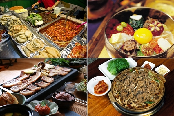A variety of spicy Korean food.