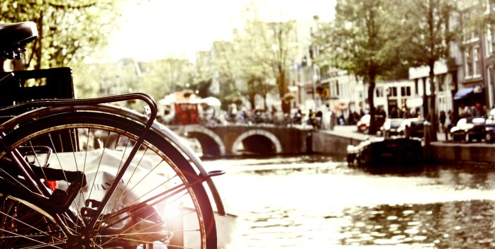 Cycling around Amsterdam, Holland.