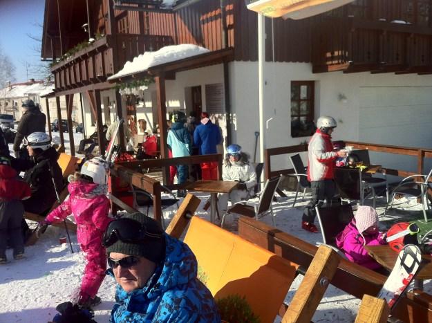 At the ski hut.