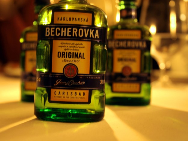 Becherovka, a type of herbal, spicy, aniseed Czech liquor!