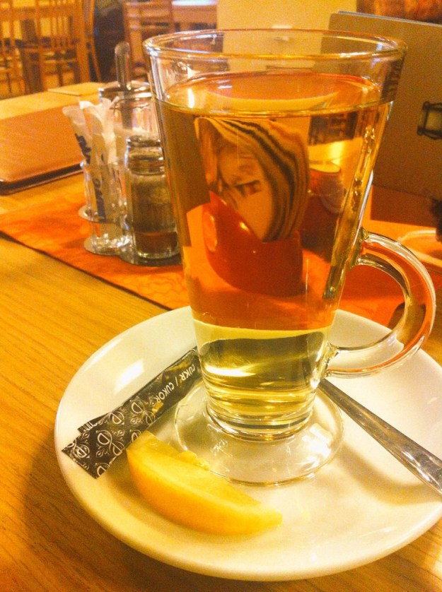 European tea with a slice of lemon or honey!