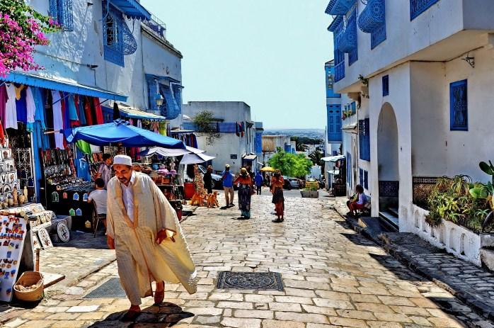 Cobbled streets in Tunisia.