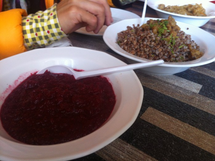 Beetroot sauce, buckwheat grains, and some very hard crackling (I think) at Bar Ząbkowski - a milk bar - in Warsaw.
