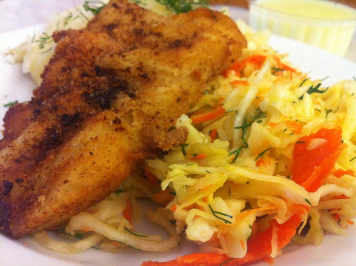 Breaded fish fillet with coleslaw at Bar Mleczny Familijny - a milk bar in Warsaw.