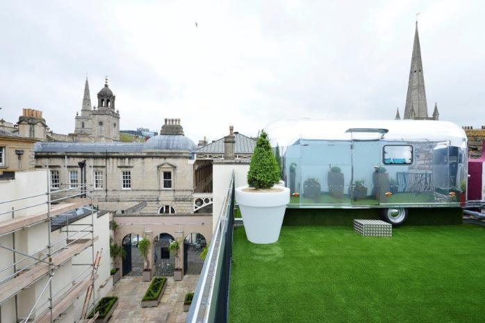 One of the views of theBrooks Guesthouse Airstream Rooftop Caravans in Bristol!