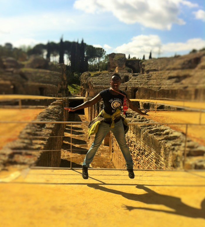 Jumping high at the Italica Archaelogical Complex in Seville!