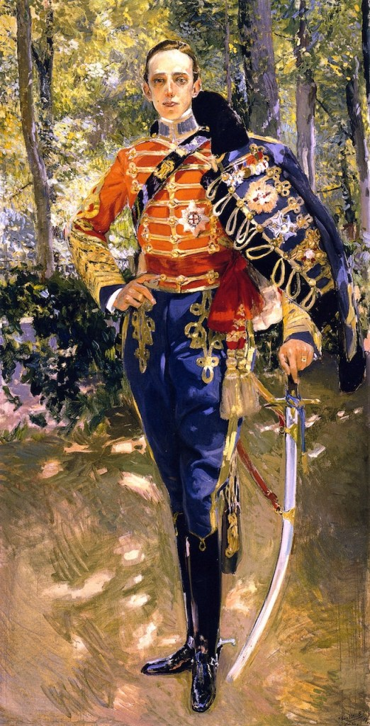 Portrait of King Alfonso XIII in the uniform of the Hussars.
