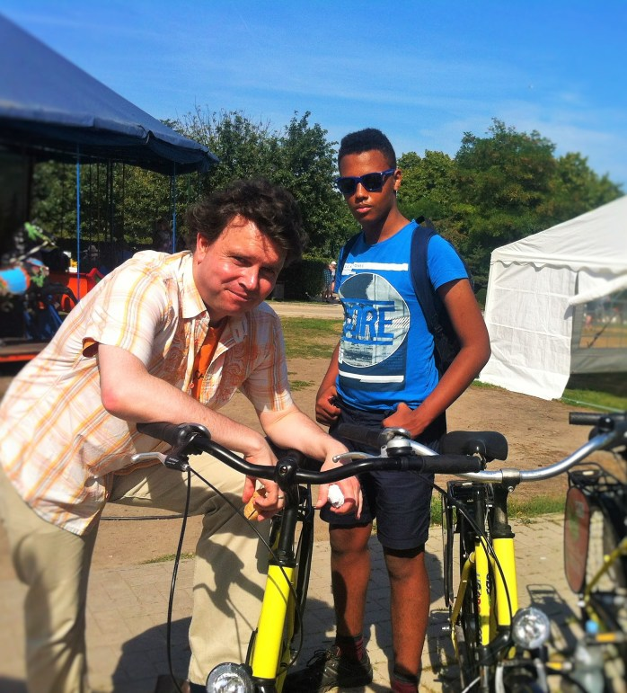 """The Music Producer and """"The Tall Young Gentleman"""" about to cycle off in Usedom, Germany."""