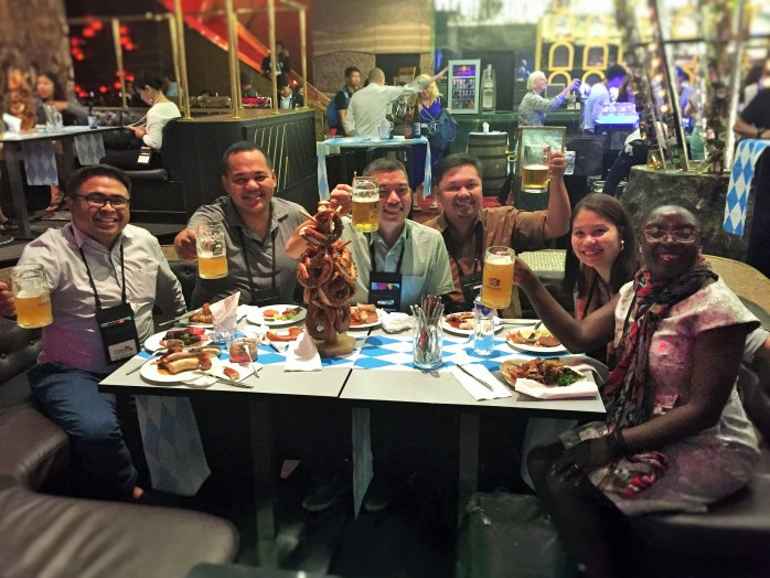 At the TBEX Asia Pacfic Oktoberfest Farewell Party, with local Filipinos!