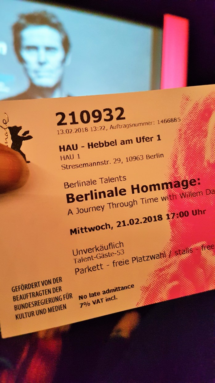 Get your Berlinale film tickets in person; Berlinale ticket; ticket; A Journey Through Time with Willem Dafoe at the HAU; Hebbel am Ufer 1; Willem Dafoe; Berlinale Hommage; Berlinale Talents; Berlinale; 69th Berlinale; Berlin International Film Festival; International Film Festival; Film Festival; film; films; movies; festival; Berlin Films; Berlin; Germany