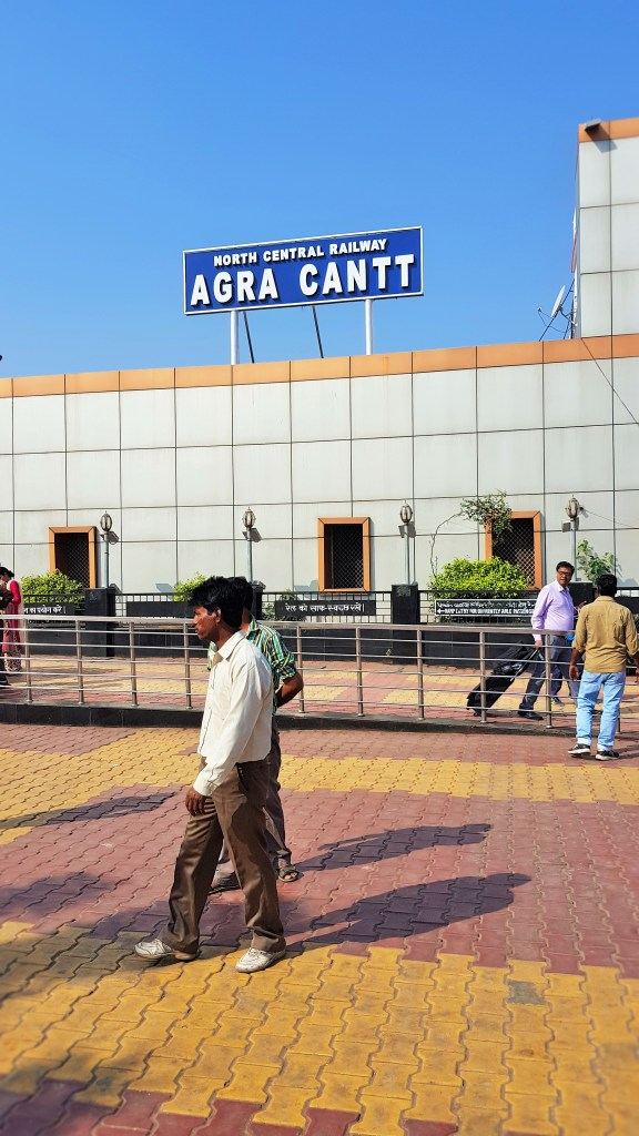North Central Railway - Agra Cantt train station in Agra, India; North Central Railway; North Central train; North Central train station; North Central; Agra Cantt train station; Agra Cantt train; Agra Cantt station; Agra Cantt; Cantt; taking the train in India; at the railway; Indian train; train; trains in India; Indian railway; train station; railway; transport; Agra; India