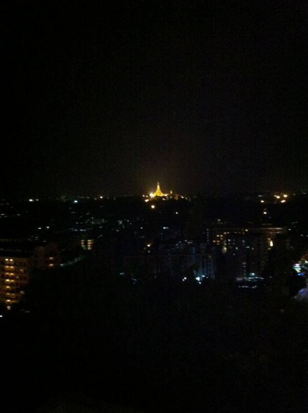 The Golden Temple at night in Yangon