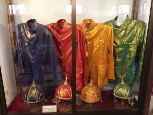 The Cambodia King's clothes for each weekdays, displayed in Royal Palace in Phnom Penh